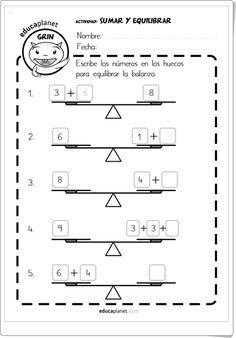 """""""Sumar y equilibrar"""" (Fichas de composición de números de Primaria) Sumo, Grade 1, Worksheets, Sheet Music, Diagram, Education, Maths, Learning Numbers, Maths Area"""
