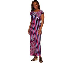373e581cf28 Bob Mackies Printed Jersey Knit Cap Sleeve Maxi Dress Maxi Dress With  Sleeves