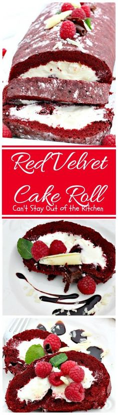 Red Velvet Cake Roll is a Paula Deen recipe. Love the cream cheese-white chocolate filling in the middle. Great for Valentine's Day or holiday baking. Red Velvet Cake Roll, Red Velvet Cheesecake, Raspberry Cheesecake, Oreo Cheesecake, Pumpkin Cheesecake, Cheesecake Recipes, Blue Velvet, Cupcakes, Cupcake Cakes