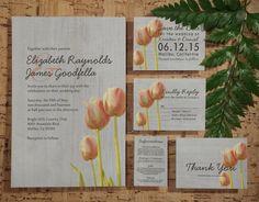 Vintage Tulip Wedding Invitation Set/Suite by InvitationSnob