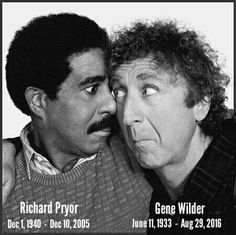 Richard Pryor & Gene Wilder - they did four movies together: Silver Streak, Stir Crazy, See No Evil, Hear No Evil and Another You.love these two guys together in movies! Classic Hollywood, Old Hollywood, Jorge Guzman, Richard Pryor, Richard Armitage, Cinema, Kino Film, Actrices Hollywood, Man Humor