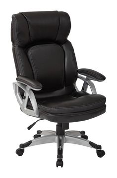 Executive Silver Black Bonded Leather Height Adjustable Arms Chair