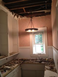 This is what the butler's pantry looked like before the HAZ MAT demolition began.