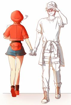 White Blood Cell x Red Blood Cell Otaku Anime, Manga Anime, Me Anime, Anime Couples Manga, Fanarts Anime, Cute Anime Couples, Anime Girls, Noragami, Blood Anime
