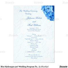 Blue Hydrangea 5x7 Wedding Program Template 5x7 Paper Invitation Card