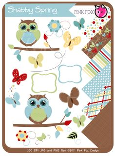 INSTANT DOWNLOAD - owl clipart and digital paper pack - spring clip art - printable pattered backgrounds - digital frames - shabby chic.