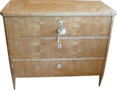 Amazingly modern-looking antique maple chest of drawers w/ivory escutcheons.