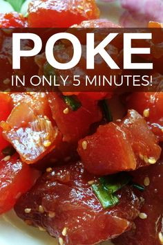 Hawaiian poke recipe takes only 5 minutes to make. A super easy recipe, poke is found everywhere in Hawaii and so healthy and gluten-free. Sushi Recipes, Asian Recipes, Cooking Recipes, Healthy Recipes, Tuna Steak Recipes, Easy Recipes, Poke Sauce Recipes, Spicy Poke Recipe, Healthy Fast Food