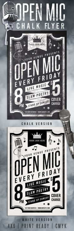 Chalk Open Mic Night Flyer Template PSD #design Download: http://graphicriver.net/item/chalk-open-mic-night-flyer/12947345?ref=ksioks