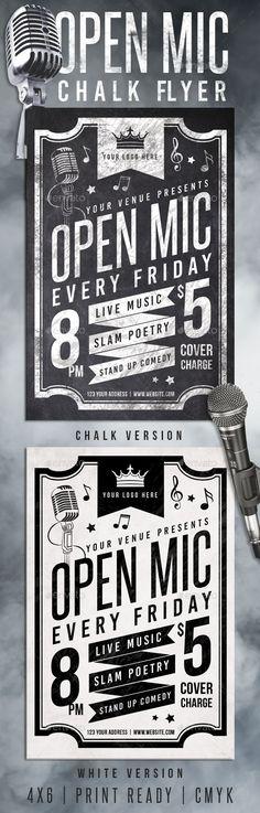 Chalk Open Mic Night Flyer Template PSD #design Download: http://graphicriver.net/item/chalk-open-mic-night-flyer/12947345?ref=ksioks