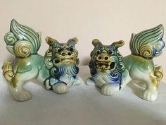 Mid-Century Ceramic Guardian Foo Dogs Figurines by LaSuzanaMaison