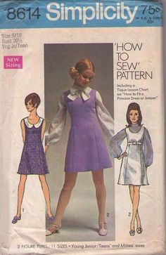 MOMSPatterns Vintage Sewing Patterns - Simplicity 8614 Vintage 60's Sewing Pattern DARLING Mod Petite How to Sew EASY Coop Neck Princess Seams Jumper, Dress & Tie Collar Blouse Set Size 7/8