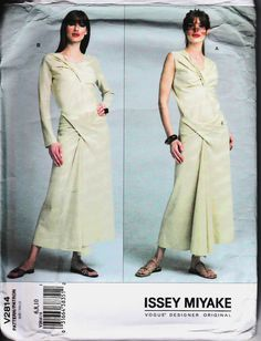 Vogue Sew Pattern 2814 Issey Miyake KNIT Twist Draped Top & Skirt  6-8-10  UC #Vogue #SewingPattern