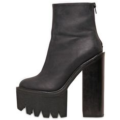 JEFFREY CAMPBELL 155mm Mulder Leather Ankle Boots (22145 RSD) ❤ liked on Polyvore featuring shoes, boots, ankle booties, black, black leather booties, black boots, platform booties, black high heel booties and ankle boots