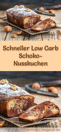 Rezept für einen Low Carb Schoko-Nusskuchen - kohlenhydratarm, kalorienreduziert, ohne Zucker und Getreidemehl