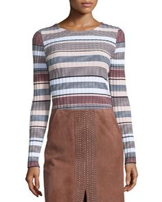 TBWEC Elizabeth and James Long Sleeve Striped Pullover, Pink/Multi