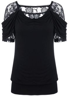 $14.36 Lace Trim Ruched T-Shirt