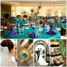 Only the center piece with the square vase and large peacock feathers sticking out of them with different color beads at the bottom (purple)(blue)(green)at each table.