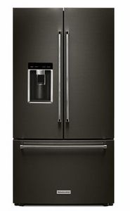 """KRFC704FBS 36"""" KitchenAid® 23.8 cu.ft. Counter Depth French Door Refrigerator with Panoramic LED Lighting and FreshSeal Herb Storage - Black Stainless Steel"""