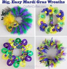 Four, fun and easy Mardi Gras wreaths to DIY. CraftsnCoffee.com