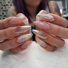 nail art designs | 2017 summer | stiletto | pink | acrylic | gel polish | #rhinestones | jewels | gems | diamonds | glitter | sliver | mirror