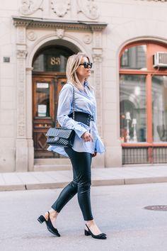 Belted Blue Shirt - P.S. I love fashion by Linda Juhola