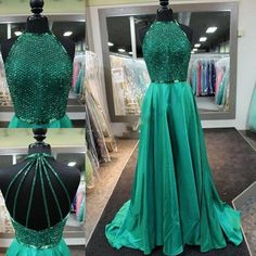 green prom dress,long prom dress,beaded prom dresses,2018 new arrived Gown