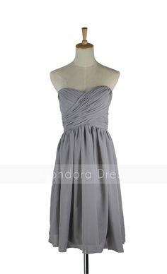 Gray Bridesmaid Dress - Strapless Bridesmaid Dress - Chiffon Short Bridesmaid Dress-Custom Made LOVE!! @Roxanne R. R. R. Gutierrez