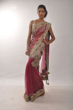 Blush pink wedding sari available at www.anoshasfashionstudio.com