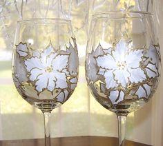 Poinsettia blanc verres peints à la main