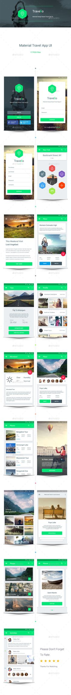 Material Travel App UI #psd #userinterface Download: http://graphicriver.net/item/material-travel-app-ui/10550013?ref=ksioks