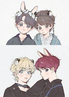 My Daddy & My Babyboy(Taekook~Vkook) - - Wattpad Vkook Fanart, Fanart Bts, Taekook, V Chibi, Anime Chibi, Bts Anime, Anime Guys, Namjin, Taehyung