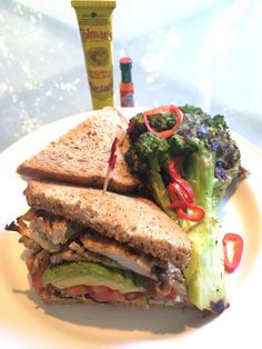 ... grilled chicken and avo sandwich with comedy char-grilled broccoli
