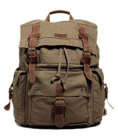 49% Off was $109.99, now is $55.99! Kattee Vintage Canvas Leather Hiking Travel Backpack Tote Bag Fit 17 Inch Laptop