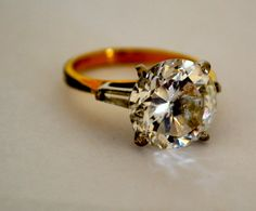 Vintage 14KGF Solitaire Ring Large Clear CZ Size  8 by ESTATENOW, $52.50