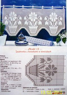 filet curtain by celeste Filet Crochet Charts, Crochet Borders, Crochet Cross, Thread Crochet, Knit Crochet, Crochet Patterns, Crochet Curtain Pattern, Crochet Curtains, Tapestry Crochet