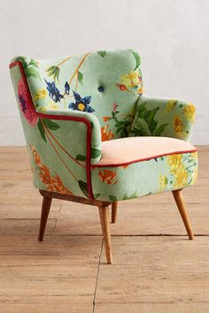Anthropologie Floret Occasional Chair - this luxe velvet respite sets a sunny day's tone for an entire room with colorful blooms and a plump, plush seat. - [ad]