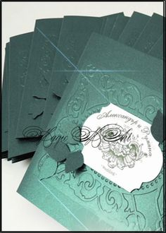 Сватбена покана с релеф в тъмно зелено 1058