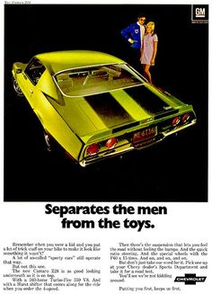"""The very popular Camrao A favorite for car collectors. The Muscle Car History Back in the and the American car manufacturers diversified their automobile lines with high performance vehicles which came to be known as """"Muscle Cars. Pub Vintage, Vintage Trucks, Vintage Stuff, Vintage Colors, Us Cars, Old Ads, Vintage Motorcycles, Cars Motorcycles, Advertising Poster"""