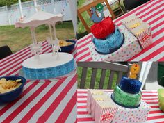 Ryderu0027s 2nd Birthday Party: Circus/Carnival Theme! Simple Table  Centerpieces Using Repurposed Items