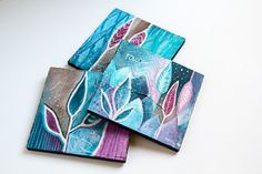 """""""Follow your bliss"""" mini boho paintings with intention, using blue, violet colors and feather art, meaningful quotes."""