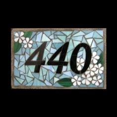 Plumeria Plaque Style Custom House Number Mosaic