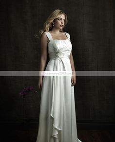 Magnifique Empire Appliques carrés chapelle Floor-Length Plus Size robe de mariée
