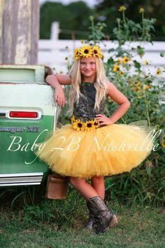 Camo Dress Yellow Sunflower Flower Girl Dress, Mossy Oak, includes headband shown Camo Wedding Dresses, Yellow Wedding Dress, Country Wedding Dresses, Wedding Country, Wedding Outfits, Yellow Flower Girl Dresses, Flower Dresses, Girls Dresses, Camo Dress