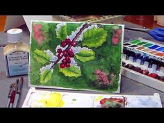 """I get my art and craft muse fired up by binge watching """"The Frugal Crafter"""" on YouTube. Today while I was stuffing envelopes for a mass-mailing, I watched """"How To Paint Holly in Watercolor! Christmas Card Idea."""" Lindsay is a hoot!"""