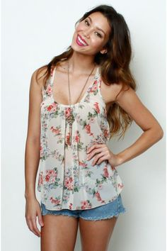 LoveMelrose.com From Harry & Molly | Sheer floral tank from Love Melrose - TOPS
