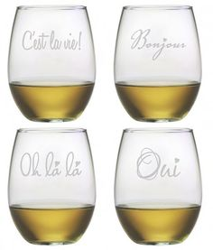 French 101 ~ Stemless Wine Glasses ~ Set of 4