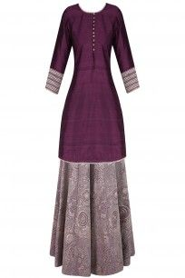 Wine Zari Embroidered Short Kurta and Lehenga Set