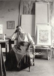 Giving a Swedish Pioneer of Abstract Art Her Due - NYTimes.com - Hilma af Klint in her studio in 1895