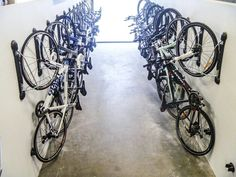 The Steadyrack bike parking rack is the ultimate commerical bicycle parking and storage solution. Hang bikes as close as together safely and securely. Wall Mounted Bike Storage, Indoor Bike Storage, Bike Storage Solutions, Parking Solutions, Storage Ideas, Storage Organization, Bicycle Garage, Bike Shed, Bicycle Shop
